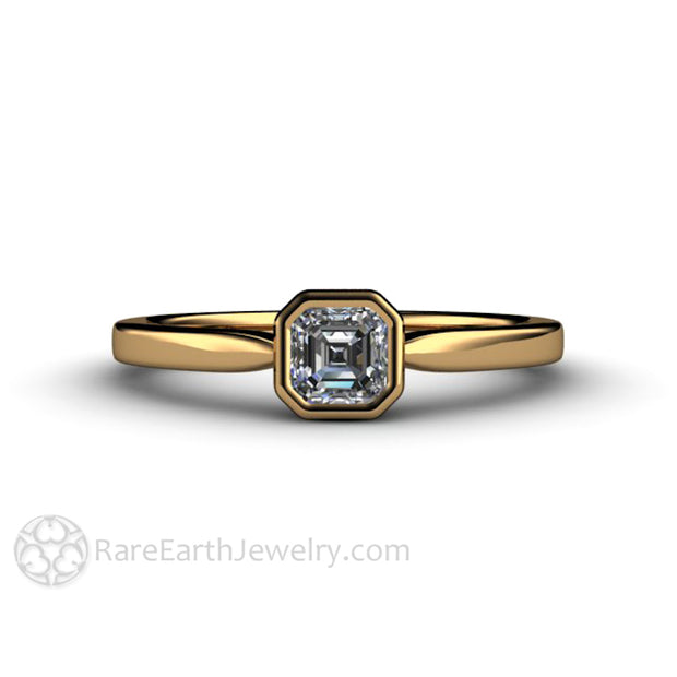 Asscher GIA Diamond Wedding Ring 18K Gold Bezel Rare Earth Jewelry