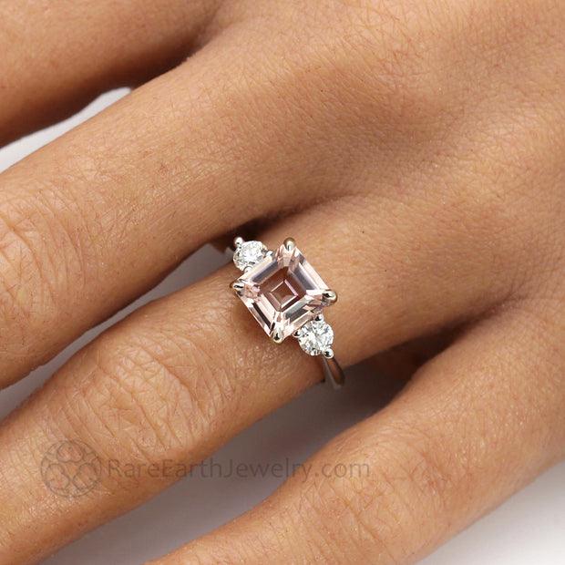 3 Stone Morganite Ring on the Finger square asscher cut Morganite Pink or Peach Colored Natural Gemstone