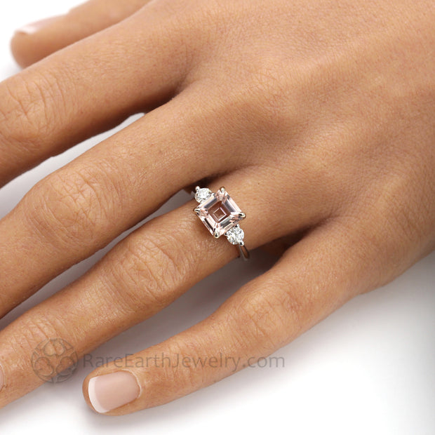 3 Stone Morganite Engagement Ring Asscher Cut with Diamonds and Claw Prongs