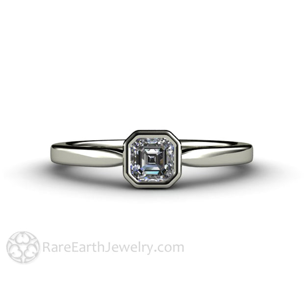 Asscher Solitaire Diamond Engagement Ring 14K White Gold