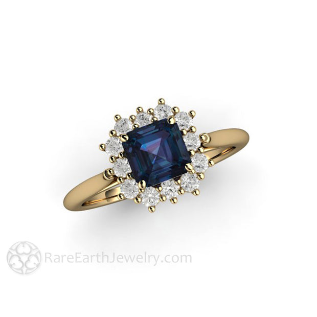 14K Gold Diamond Halo Asscher Alexandrite Ring Rare Earth Jewelry