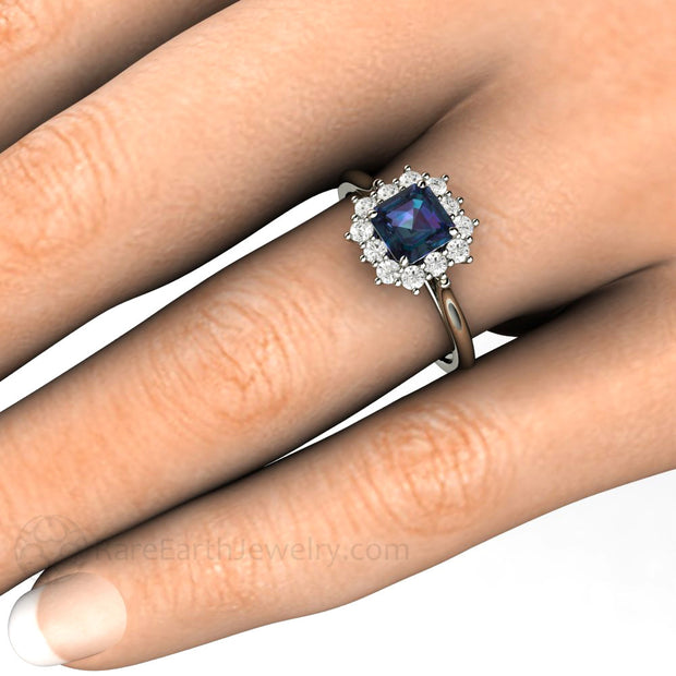 Rare Earth Jewelry Alexandrite Cluster Halo Right Hand Ring on Finger