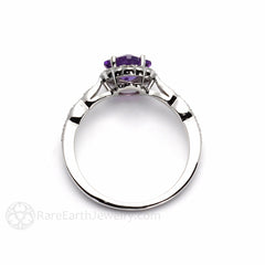 Amethyst Anniversary Ring with Diamonds Asscher Cut