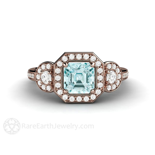 14K Natural Aquamarine Asscher Halo Ring Three Stone Rare Earth Jewelry