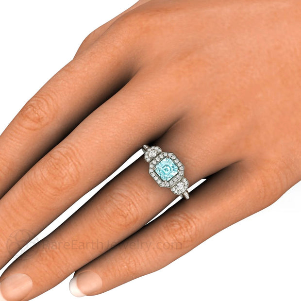 Asscher Cut Aquamarine and Diamond 3 Stone Ring on Finger Rare Earth Jewelry
