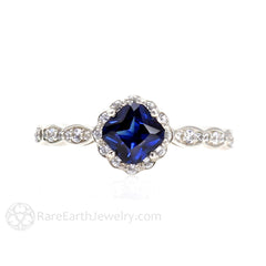 Rare Earth Jewelry Blue Sapphire Diamond Halo Ring Vintage Style 14K Gold Asscher Cut