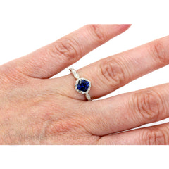 Asscher Blue Sapphire Halo Ring on Finger Rare Earth Jewelry