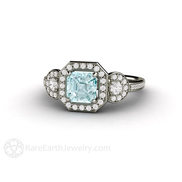 3 Stone Asscher Aquamarine Engagement Ring Rare Earth Jewelry