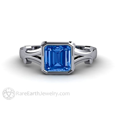 Rare Earth Jewelry Asscher Cut Blue Sapphire Ring 14K Gold