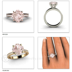 Rare Earth Jewelry Asscher Morganite Ring 14K Rose Yellow or White Gold