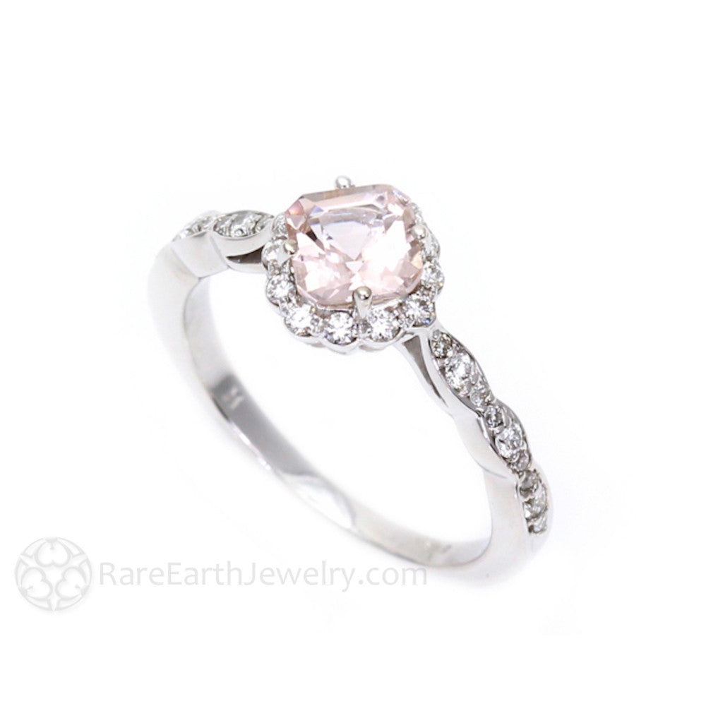 Asscher Cut Morganite And Diamond Halo Engagement Ring