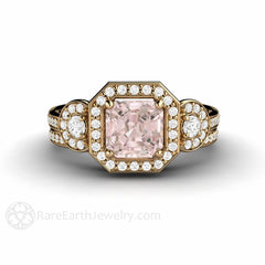 Morganite Halo Engagement Ring Bridal Set Diamond Halo 3 Stone 18K Gold Rare Earth Jewelry