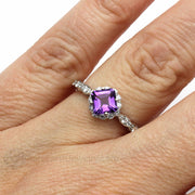 Asscher Amethyst Halo Ring on Finger Rare Earth Jewelry