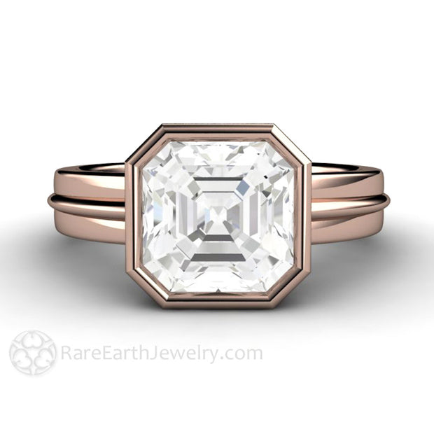 14K Rose Gold 3ct White Sapphire Asscher Cut Anniversary Ring Rare Earth Jewelry