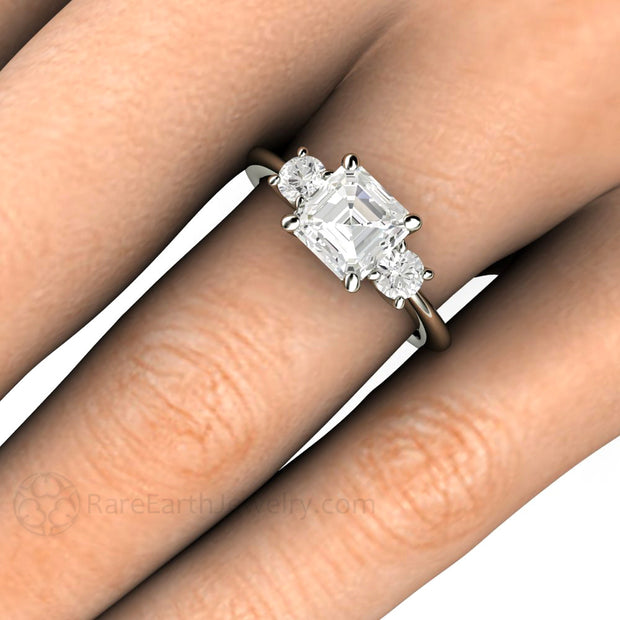 Rare Earth Jewelry Asscher Moissanite 3 Stone Right Hand Ring on Finger