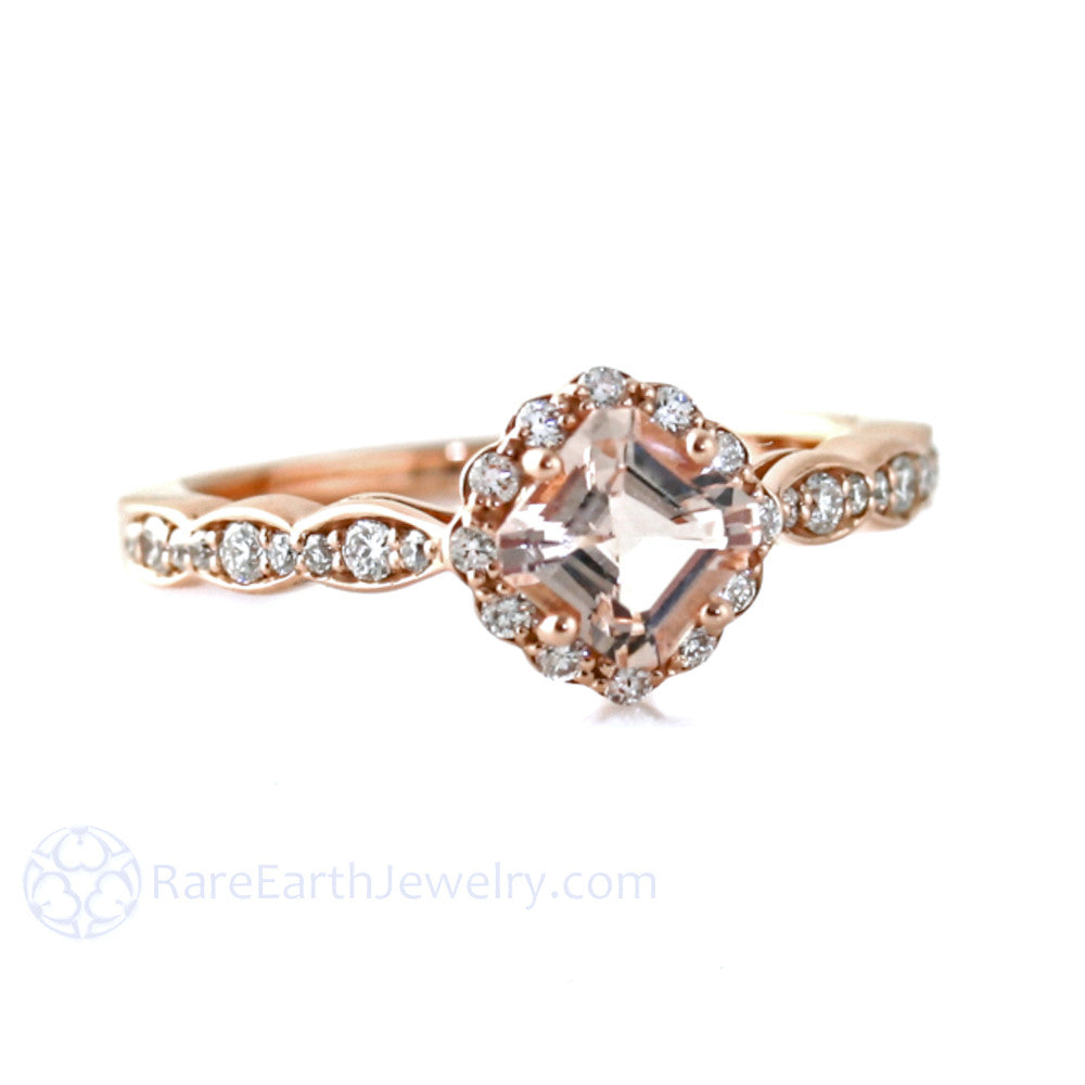 Rare Earth Jewelry Asscher Cut Morganite Engagement Ring Rose Gold with Diamond Accent Stones