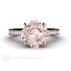 Rare Earth Jewelry Rose Gold Asscher Cut Morganite Engagement Ring