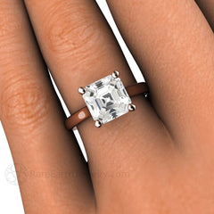 Asscher White Sapphire Ring on Finger Rare Earth Jewelry