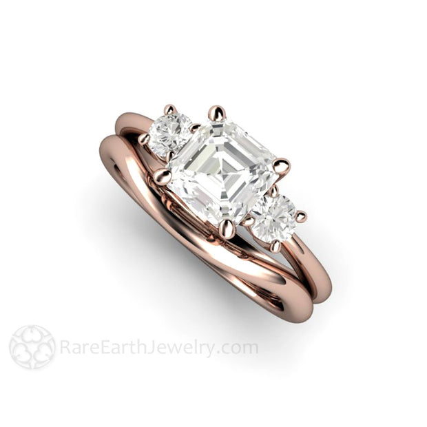 Rare Earth Jewelry Rose Gold Moissanite Wedding Ring Set 3 Stone Asscher and Rounds