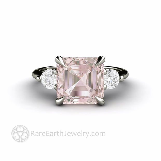 Assher Cut Morganite Ring With Diamonds Unique Engagement Ring Custom Made from Rare Earth Jewelry
