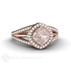 Pink Sapphire Halo Right Hand or Cocktail Ring Rose Gold Rare Earth Jewelry