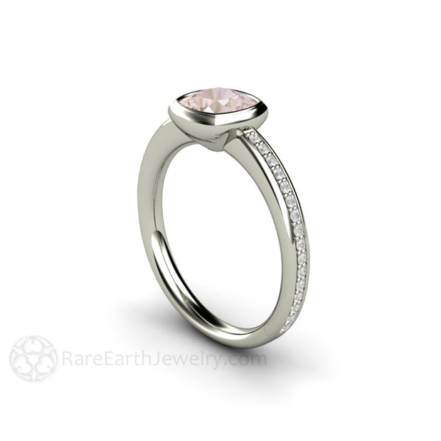 Cushion Cut Pink Sapphire Wedding Ring 14K White Gold Bezel with Diamonds Rare Earth Jewelry