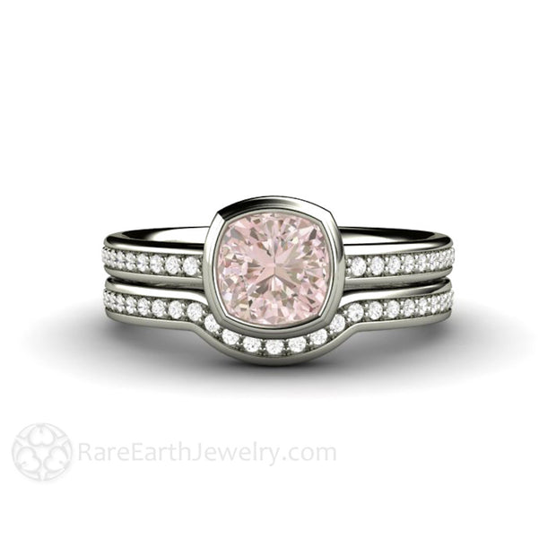 Pink Sapphire Wedding Ring Set Cushion Bezel Solitaire Diamond Accented Band Rare Earth Jewelry