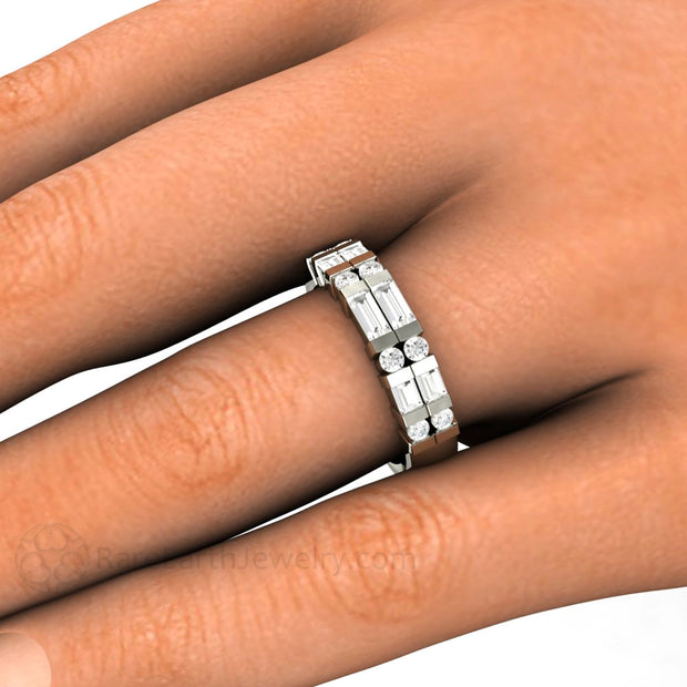 Double Baguette Diamond Ring on Finger Rare Earth Jewelry