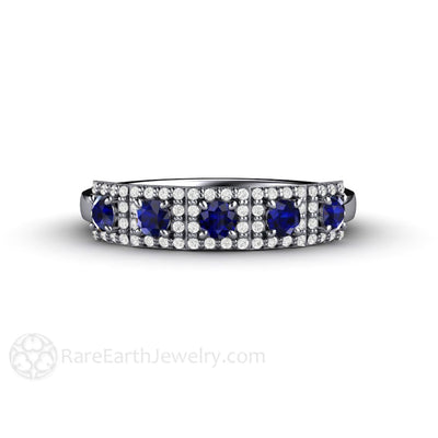 Rare Earth Jewelry Unique Blue Sapphire Art Deco Wedding Anniversary Ring 14K White Gold