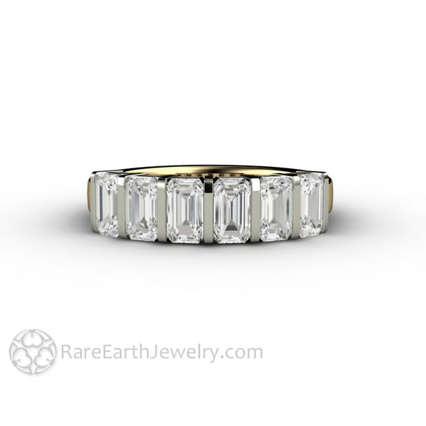 Emerald Cut Anniversary Band with Charles and Colvard Moissanite
