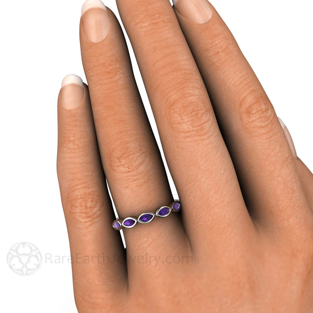 Bezel Set Stacking Band with Purple Natural Amethyst Ring On the Hand by Rare Earth Jewelry