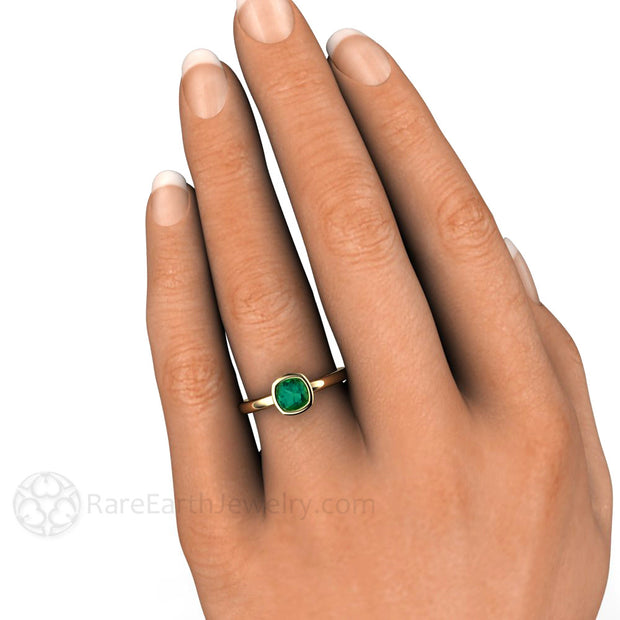 Bezel Set Cushion Cut Blue Green Tourmaline Ring on Finger Rare Earth Jewelry