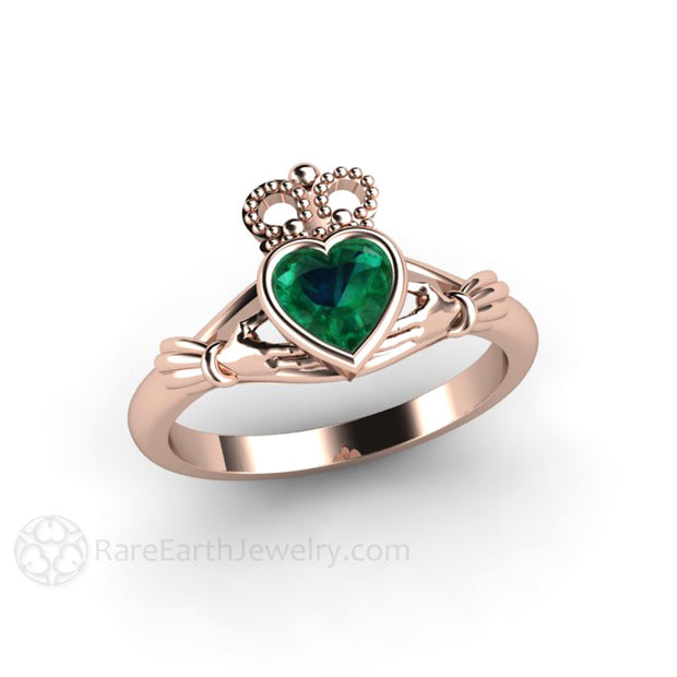 Rose Gold Emerald Claddagh Bridal  or Anniversary Ring Rare Earth Jewelry