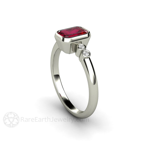 Ruby and Diamond Bridal Ring 14K or 18K Gold Bezel Solitaire Rare Earth Jewelry