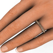 Brown Diamond Round Cut Bezel Set Ring on Finger