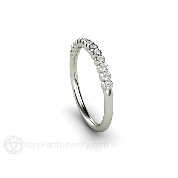 Bezel Set Diamond Ring White Gold Rare Earth Jewelry