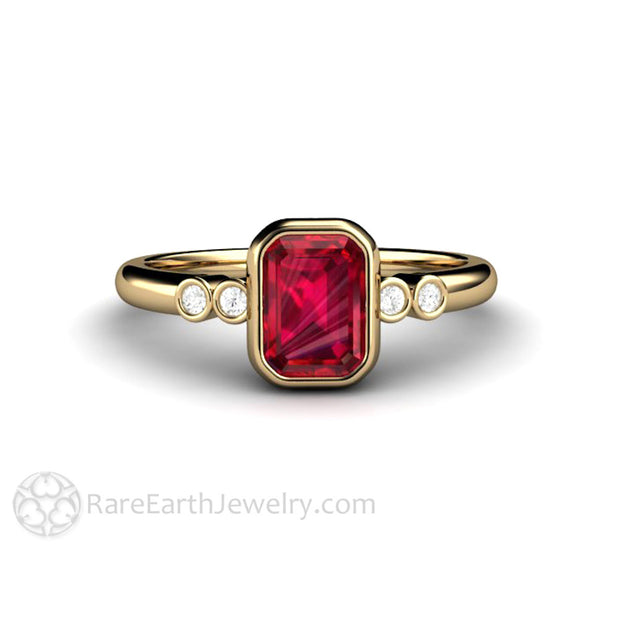 14K Ruby and Diamond Promise Ring Rare Earth Jewelry