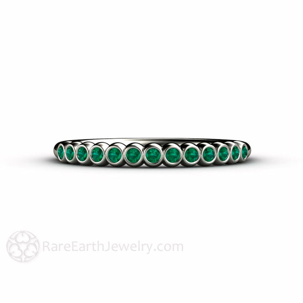 Round Cut Emerald Stackable Ring Bezel Set Rare Earth Jewelry