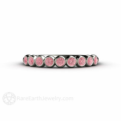 Rare Earth Jewelry Pink Bubbles Bezel Set Diamond Ring 14K White Gold