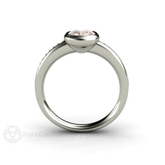 Bezel Sapphire Ring White Gold with Diamonds