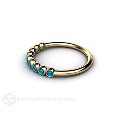 14K Blue Diamond Bezel Set Ring Rare Earth Jewelry