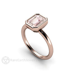 Bezel Morganite Bridal Ring Emerald Cut Solitaire Engagement Rare Earth Jewelry
