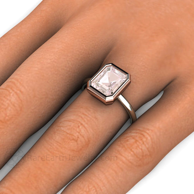 Emerald Cut Morganite Solitaire Ring on Finger Rare Earth Jewelry