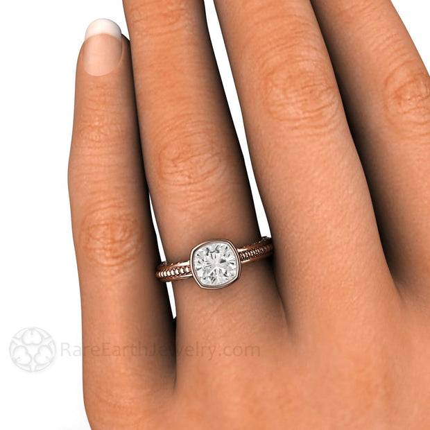 Cushion Moissanite Right Hand Ring on Finger Rare Earth Jewelry