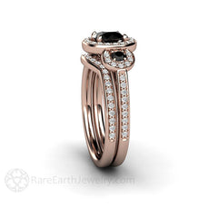 18K Rose Gold Black Diamond Wedding Set Round Cut Halo Rare Earth Jewelry