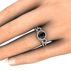 Black Diamond Wedding Ring Set on Finger Rare Earth Jewelry