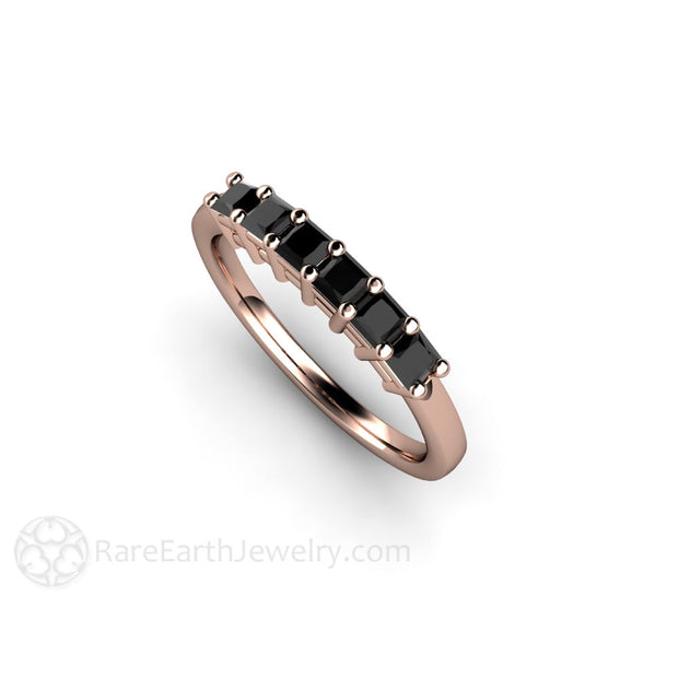 Rose Gold Black Diamond Stacking Ring Rare Earth Jewelry