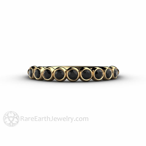 Bubbles Black Diamond Wedding Ring Anniversary Band Stacking Ring