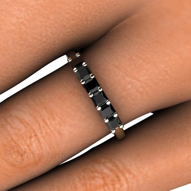 Princess Black Diamond Stacking Ring on Finger 14K Rare Earth Jewelry