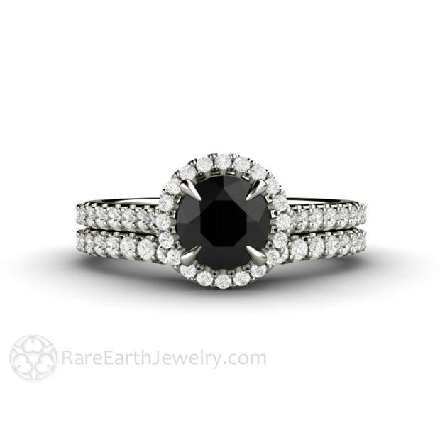 Black and White Diamond Bridal Set 6mm Round Engagement Ring 14K Gold Halo Setting Rare Earth Jewelry